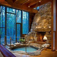 Cool cabin hot tub...