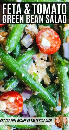 Green Bean Salad with Feta Cheese, Grape tomatoes, and Red Onions, a cold salad side dish that is Greek Inspired and SO GOOD Winter Salad Recipes, Greek Salad Recipes, Bean Salad Recipes, Salad Recipes For Dinner, Green Bean Recipes, Vegetable Recipes, Good Green Bean Recipe, Green Bean Salads, Green Beans