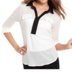 """Kenzie Sx XS White 3/4 Sleeve Chiffon Blouse NWT Kenzie Sz XS Cream combo relaxed 3/4 sleeve top cut from a soft lightweight knit. •24 1/2"""" length, Bust 32-34 •100% polyester with 95% viscose, 5% spandex contrast. •Dry clean or hand wash cold, dry flat. •Brand new with tags •Black V Neck collar Kensie Tops"""