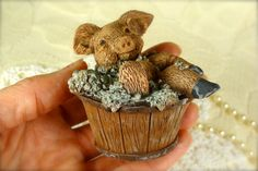 Funny Little Pig in the Bathtub Resin by TinyandBeautiful on Etsy