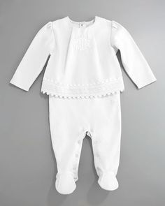 Eyelet Top & Footie Set, White by Baby Dior at Neiman Marcus.