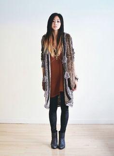 Faux fur, kimono, rust and black