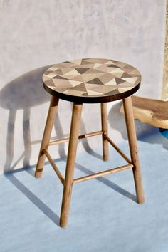 Material: ash, oak, blacknut, mahogany, european maple, beech, american cherry, pear, FSC® certified coloured veneers, up-cycled beech legs. Finished with mat varnish. Size: D=30cm; Hight=45cm Craftsmen: Anna Lébényi - product idea, design, material procurement, marquetry Marquetry, Craftsman, Ash, Pear, Stool, Cherry, American, Furniture, Design