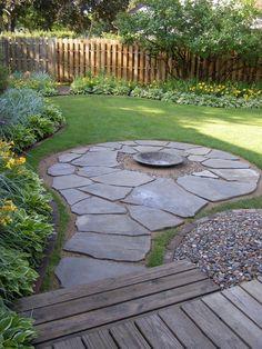 Backyard landscaping idea and stone patio design