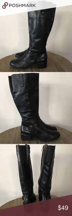 """Bandolino Calliope Tall Leather Boots Tall leather riding boots. Good used condition with some bend marks at the toes and small scuffs. Small heel about 2"""" Super comfortable! Bandolino Shoes Heeled Boots"""
