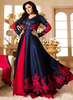 Navy Blue N Red Drashti Dhami Anarkali Suit