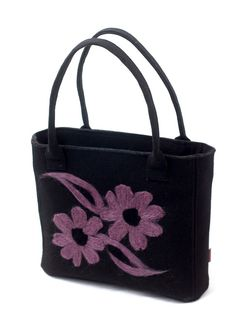 Black arm & handbag with a violet floral motif. Violet flowers by Anardeko