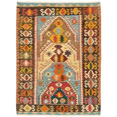 """Anatolian Wool Kilim 3'4""""x4'5"""" (3.580 BRL) ❤ liked on Polyvore featuring home, rugs, flat woven rug, border area rugs, flat weave wool rug, woven wool rug and flat weave area rugs"""