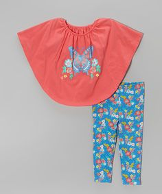 a1b5e04891435 Take a look at this Coral Floral Cape-Sleeve Top & Leggings - Infant,