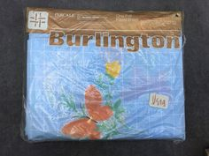"""80's Vera Neumann Burlington House """"Gingham Butterfly"""" Pattern in Blue FULL Fitted Sheet // Sealed by ElkHugsVintage on Etsy"""