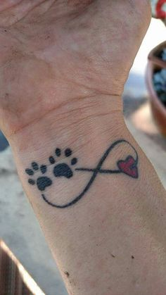 Cute Pet memorial tattoo! Add name and date of pet would complete this special tattoo for furbaby that passed away.