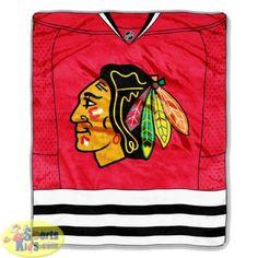 Bedding - Northwest NHL Chicago Blackhawks Jersey Raschel Series Blanket - SportsKids Superstore