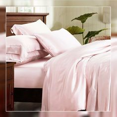 Online shopping for light pink silk duvet covers, interior corner ties are available to keep the duvet in place.