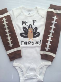 BOYS Thanksgiving outfit - football turkey shirt - baby boy bodysuit - fall  baby… Thanksgiving 10c2a80a9