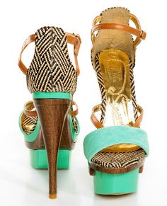 Mona Mia Mayo Mint Tribal Patterned Sculpted Platform Heels ( LOVE THESE)
