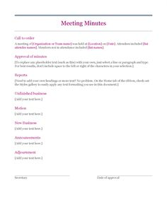Sample Meeting Minutes Template  PTA    Template