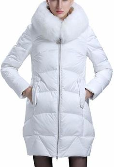 Fur Hooded Paneled Puffer Down Coat in White or Green
