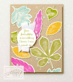 Cute friendship card with bright leaves.