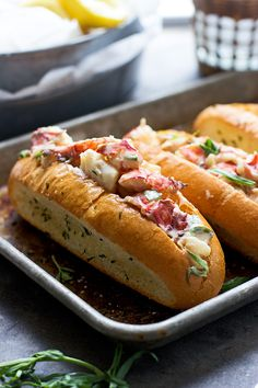 Tarragon and Lemon Lobster Rolls with Garlic Bread Hoagies - Cooking for Keeps