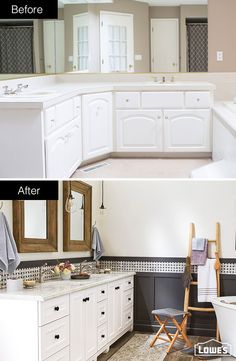 Achieve a high-end look in your bathroom by paneling lower walls instead of tiling them, and then paint the panels. Mix sophisticated marble countertops and paneled wainscoting with mirror frames and flooring that have a rustic finish for a designer style. This bathroom was designed and remodeled through Lowe's of Medford, OR. Click this pin to learn more about installation services.