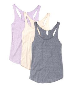 Another great find on #zulily! Oatmeal, Lavender & Denim Racerback Tank Set by Lady Tank #zulilyfinds