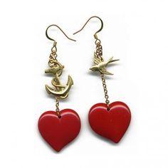 Sailor's Love Heart & Anchor earrings