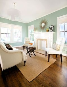 Wythe Blue is in Benjamin Moore's Historic Color Collection - for master bedroom-watery greeny-blue is fresh enough for a contemporary space