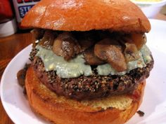 B.I.G POPPA BURGER - (Au poivre burger, aged danish bleu cheese, cognac and sherry sauteed mushrooms, grilled onions) - Ray's Hell's Burger - Arlington, VA