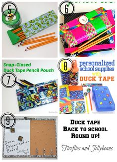 Could use fall patterns or colors! Fireflies and Jellybeans: crafts with DUCK TAPE® for back to school, fall and Halloween! Duct Tape Projects, Duck Tape Crafts, Diy Projects, Middle School Decor, Back To School, Fun Crafts, Crafts For Kids, Diy And Crafts, Cute School Supplies