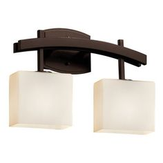 Justice Design Group Fusion 2 Light Vanity Light Finish: Dark Bronze, Shade Color: Weave