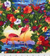 Novelty Cotton Fabric Flamingo Paradise