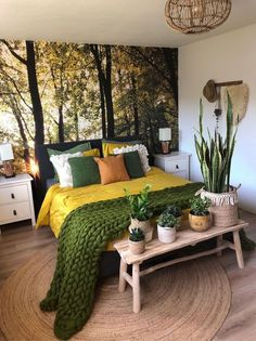 Because the living room is the reception room par excellence, the choice of furniture and decoration is particularly important. Our living room is also a cocoon from which the… Continue Reading → Bedroom Green, Home Bedroom, Bedroom Ideas, Bedroom Designs, Earthy Bedroom, Forest Bedroom, Nature Bedroom, Bedroom Inspiration, Green Bedding