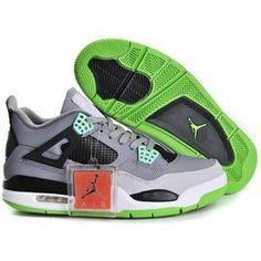 http://www.asneakers4u.com/ Top Nike Air Jordan 4 Mens Shoes in Gray Black and Green