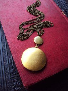 Vintage Double Locket Long Necklace Long by primitivepincushion, $32.99