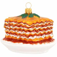 Lasagna With Ricotta Cheese Glass Ornament.