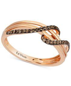 Le Vian Chocolatier® Diamond Wrap Ring (1/4 ct. t.w.) in 14K Rose Gold   macys.com