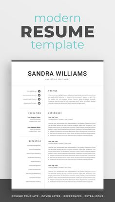 The modern resume template Sandra is designed to showcase your skills and experience in a professional and effective way. The layout is optimized for building a resume that is informative, visually attractive and easy to navigate. Includes resume, cover letter and references templates, extra social media and contact icons, and a detailed user guide. #resume #resumetemplate #resumedesign #cv #cvtemplate #cvdesign #job #jobsearch #career #careeradvice One Page Resume Template, Modern Resume Template, Creative Resume Templates, Creative Cv, Cv Design, Resume Design, Cover Letter For Resume, Cover Letter Template, Resume References