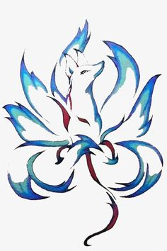 Hand painted blue nine tail fox picture material PNG and Clipart Cute Animal Drawings, Cool Drawings, 9 Tailed Fox, Rabe Tattoo, Fox Tattoo Design, Fuchs Tattoo, Pink Floyd Art, Fox Drawing, Fox Pictures