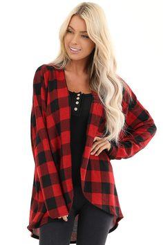 Black and Red Buffalo Plaid Open Front Long Sleeve Cardigan front close up Buffalo Print, Buffalo Plaid, Plus Size Pajamas, Cute Boutiques, Plaid Christmas, Fashion Over 50, Plaid Scarf, Long Sleeve, Sleeves