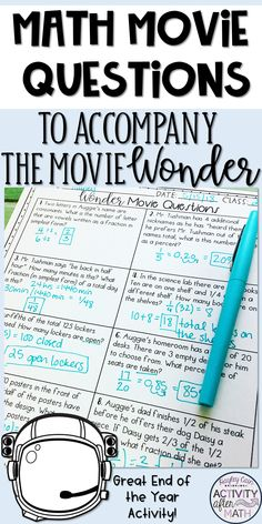 Math Movie Questions to accompany Wonder End of the Year ActivityMath Movie Questions to accompany the Movie Wonder. A 20 questions worksheet that is easy to print front to back to save paper. The topics include all. Math Teacher, Math Classroom, Teaching Math, Teaching Ideas, Classroom Themes, Math Skills, Math Lessons, Math Tools, Math Resources