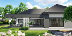 Projekt domu HomeKONCEPT-68   HomeKONCEPT Modern Bungalow Exterior, Modern Bungalow House, Dream House Exterior, Flat House Design, Village House Design, Modern House Design, Single Storey House Plans, One Storey House, Flat Roof House