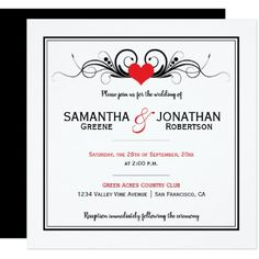 Modern Bright Red Heart Black Swirls Wedding Card - invitations personalize custom special event invitation idea style party card cards