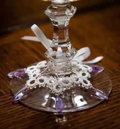 Tatting: Tatted Goblet Charm  would be so nice to have these on your Christmas glass at dinner.......