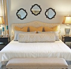 "Need help deciding how to arrange the pillows on your King Bed for that magazine perfect style? Just follow, what I call, the ""Rack'em Approach"" to styling a King Bed. Let's look at this diagram in more detail… the overall idea is to rack up the pillow layers from the back of the bed, forming a …"