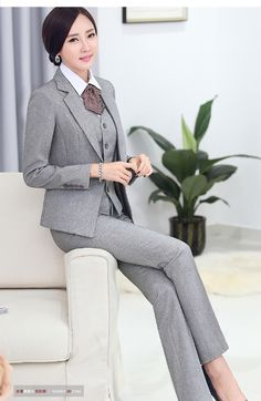 acb89a42223 Formal Pant Suits for Women Business Suits for Work Wear Sets Gray ...