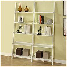 White Five-tier 2-piece Leaning Ladder Shelf Set | Overstock.com Shopping - Great Deals on Media/Bookshelves