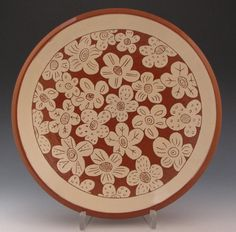 terracotta serving dish with flowers; ron philbeck pottery