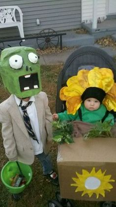 These are my children's costumes I made the year before last. Plants vs. Zombies. Home made halloween costumes?  Total score!