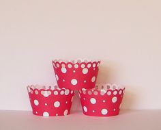 Red Polka Dot Cupcake Wrappers by OliviasPaperShoppe on Etsy, $6.00