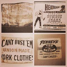 Work wear specimens released into the wild. #typehunter #vintagetypography #workwear
